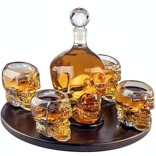 KANGLES Decanter a Forma di Teschio con 4 calici da tiro e Bellissima Base in Legno - Utilizza la Coppa a Testa di Cranio per Un Bicchierino di Whisky, Scotch e Vodka