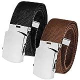 Cinturón de golf para hombre de todos los tamaños, hebilla deslizante plateada con cinturón de lona ajustable - Multi color - XXX-Large 62-70