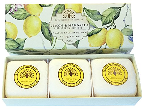 The English Soap Company Lemon & Mandarin Gift Boxed Hand Soaps | Moisturising Bath Soap Gift Box For Hydrating Skin With Shea Butter | Soap For Dry Skin, Damaged Skin & Sensitive Skin | 3 x 100g