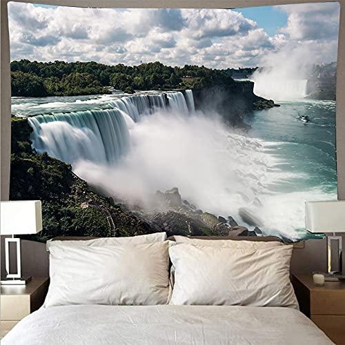 Montaña ondulada bosque y lago paisaje tapiz arte psicodélico colgante de pared toalla de playa manta tapiz A3 180x200cm