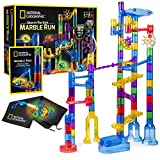 NATIONAL GEOGRAPHIC Glowing Marble Run – 80 Piece Construction Set with 15 Glow in the Dark Glass...