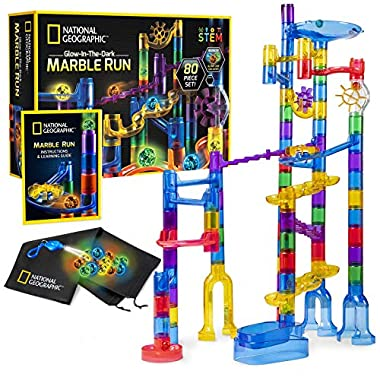 NATIONAL GEOGRAPHIC Glowing Marble Run – 80 Piece Construction Set with 15 Glow in the Dark Glass Marbles & Mesh Storage…