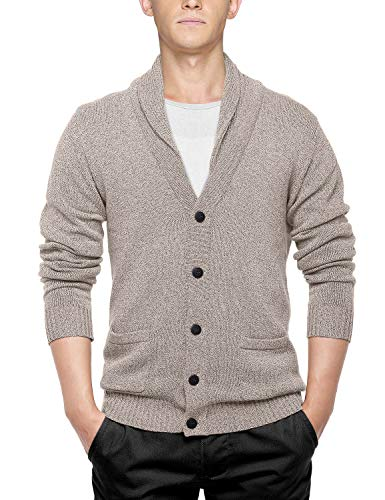 Match Men's Shawl Collar Cardigan Sweater (US L (Tag Size 2XL), Light Heather Camel)