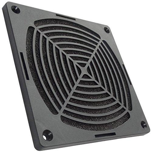 Aerzetix: Schwarz Schutzgitter Lüftungsgitter 120x120mm Ventilation mit Filter Staub für Lüfter Gehäuse Computer PC C15111