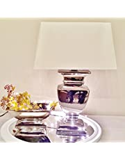 DRULINE Silver Lady 35 cm tafellamp wit zilver Shabby Chic tafellamp keramische lamp