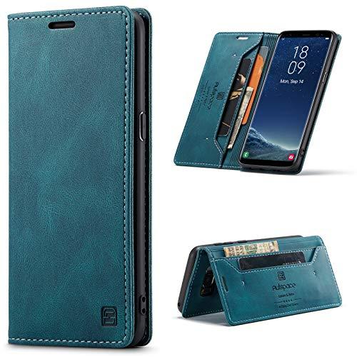 EYZUTAK LederHülle für Samsung Galaxy S8 Plus, Magnetverschluss Premium PU Leder Flip Hülle mit Kartenfächern RFID Schutz Brieftasche Standfuntion stoßfeste Klapphülle Vintage Ledertasche - Blau