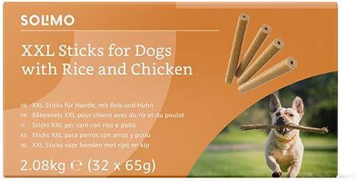 Marque Amazon - Solimo - Friandises pour chiens : poulet et riz, bâtons à mâcher sans artificiels ajoutés (32 pièces ...