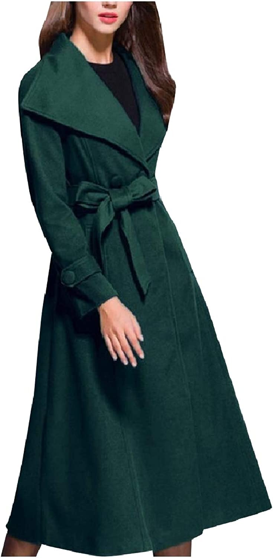 Mfasica Women Trench Belted Design Lapel Collar Wool Blends Long Pea Coat