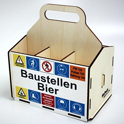 Bierträger aus Holz - SixPack – Baustelle – Richtfest – neues Heim - Baustellen-Bier (Baustellen Bier)