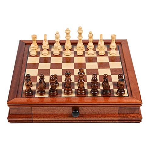 GLXLSBZ Schach-Set aus Massivholz mit doppelter Schublade, magnetisch, handgefertigt, Schach, multifunktional, für Erwachsene, Schachspiele, Schach (Größe : klein)