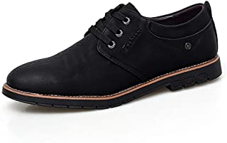 2019 Mens New Lace-up Flats Men's Fashion Oxfords Casual Round Toe Lace-up Flat Heel Loafers Anti-Slip Comfortable Low-top Pure Color Formal Shoes