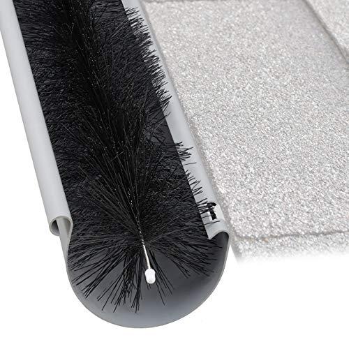 Relaxdays Protector Canalones, Cepillo de 4 Metros, Plástico, Ø 12 cm, Negro