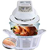 SAHOMWELL Air Fryer,Countertop Toaster Oven foodie gril,Convection Oven with Glass Bowl,Air frier With 360 Anti-scalding Protective Holder,Easy to Use and Clean,11Qt White
