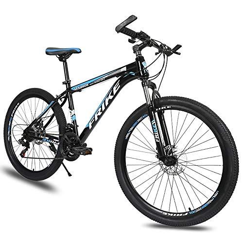 LXZH Bicicleta de Montana de 21 Velocidades Shimano, 26 Pulgadas Bici Carbono, la absorción de Choque de la Bicicleta de Doble Freno de Disco Hombres Mujeres,Azul