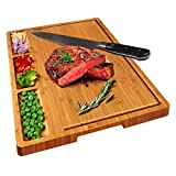 HHXRISE Large Organic Bamboo Cutting Board For Kitchen With Tray, With 3 Built-In Compartments And Juice Grooves, Heavy Duty Chopping Board Serving Tray, Butcher Block, Carving Board, BPA Free…