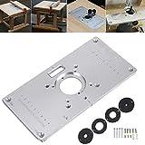 JVSISM Plaque de Table à Toupie 700C Plaque D'Insertion de Table de Toupie En Aluminium + 4 Anneaux Vis Pour Bancs de Menuiserie, 235 x 120 x 8 mm (9,3 Pouces x 4,7 Pouces x 0,3 Pouces)