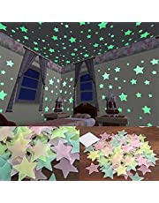 heDIANz 3D Glow In The Dark Stars Pegatinas De Pared Techo Cute Living Home Decor 100 / 40Pcs Amarillo 3.8cm