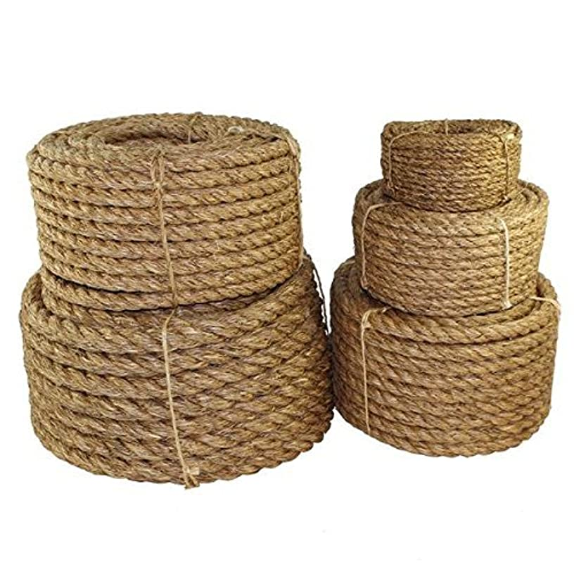 Twisted Manila Rope Hemp Rope (3/4 in x 100 ft) - SGT KNOTS - Tan Brown Natural Rope - Thick Heavy Duty Rustic Outdoor Cordage for Craft, Dock, Decorative Landscaping, Climbing, Tree Hanging Swing