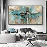 Refosian Arte de pared abstracto Lienzo Grandes carteles azules e impresiones Cuadro decorativo para colgar en la pared para sala de estar Decoración del hogar 50x100cm Sin marco