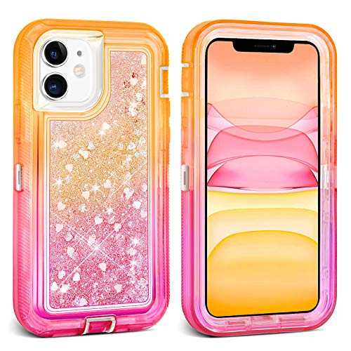 Ballaber for iPhone 11 Case Glitter Bling for Women Heavy Duty 3 in 1 Full Body Shockproof Cute Liquid Shell Hard Bumper Soft TPU Protective Cover 6.1 inch (Orange Pink)