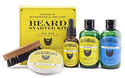 COFFRET SOIN POUR BARBE GOLDEN BEARDS Big Sur-Contient:un shampoing un après-shampoing une huile,une cire et un peigne de voyage première qualité.Arôme: patchouli, le citron et la lavande.