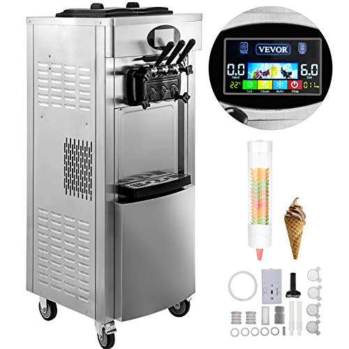 VEVOR 2200W Commercial Soft Ice Cream Machine 3 Flavors 5.3 to 7.4Gallon per Hour PreCooling at Night Auto Clean LCD Panel for Restaurants Snack Bar, Silver