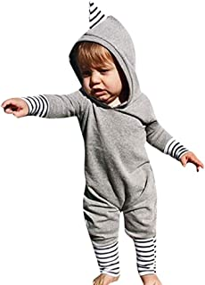 FTXJ Infant Newborn Baby Boys Girls Solid Striped Romper Jumpsuit Outfits Clothing