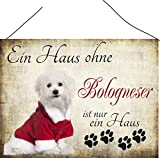'Ein Haus ohne Bologneser ist nur ein Haus' Hundeschilder, Hundedeko, Hund Türschilder, Wandschilder, Spruchschild Hund, Hundesprüche