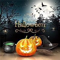Qinunipoto 背景布 ハロウィン happy halloween 撮影用 写真撮影用 写真の背景 夜 パンプキンライト コウモリ 枯れ木 丸い月 背景幕 写真 商品/人物撮影 カスタマイズ可能な背景 小道具 ビニール 1.5x1.5m