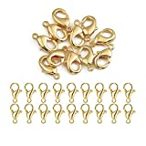 50pcs Lobster Clasps-14x8mm Alloy Claw Clasps for Jewelry Making Necklace Clasps Bracelet Clasps(Gold,14x8mm)