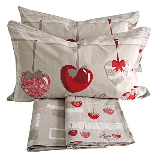 Juego de sábanas 100% algodón para cama de matrimonio de dos plazas (corazones colgantes)
