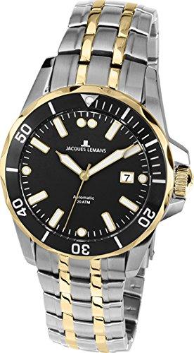 Jacques Lemans Herren Analog Automatik Uhr mit massives Edelstahl Armband 1-1910D