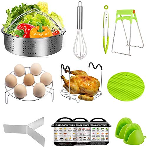 Smooce Cooker Pot Accessories Set,12 Pcs Pressure Cooker Accessories Fit 5 6 8Qt Steamer Basket Pan, Whisk, Egg Steamer Rack, Kitchen Tongs, Silicone Oven Mitts