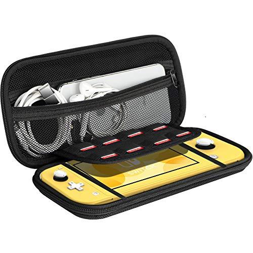 Ztotops Tasche Kompatibel für Nintendo Switch Lite, mit Stauraum für 8 Spiele, Aufbewahrungs Tasche/Hülle/Schutzhülle auf die Reise für Nintendo Switch Lite Konsole & Accesoires -Schwarz