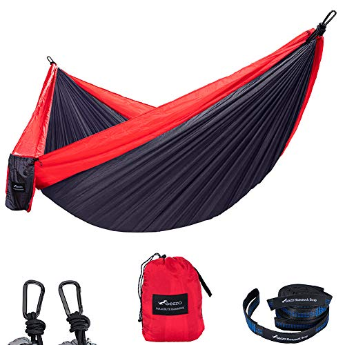 Geezo Double Camping Hammock, Lightweight Portable Parachute (2 Tree Straps 16 LOOPS/10 FT Included) 500lbs Capacity Hammock for Backpacking, Camping, Travel, Beach, Garden (Dark Red/Dark Gray)