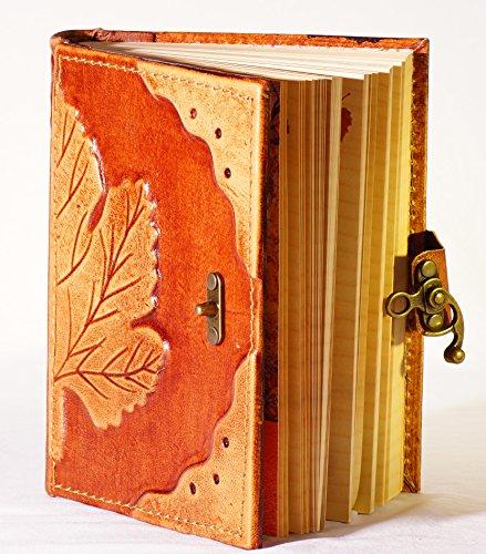Leaves Notitieboek, dagboek met sluiting, 500 pagina's, stabiel lederen boek, gastenboek, posiealbum, blanco boek, gelinieerd