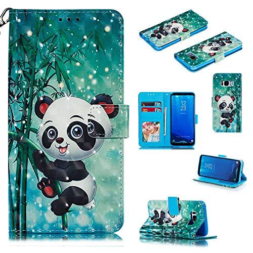 Samsung Galaxy S8 Hülle,THRION PU Brieftaschenetui 3D mit magnetischer Handschlaufe und Ständerhalterung für Samsung Galaxy S8, Panda