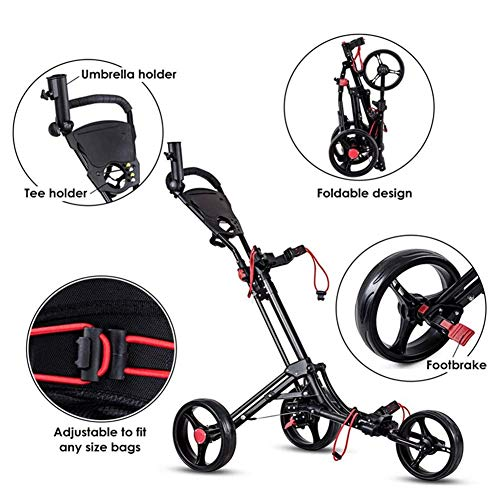 Buy Discount Foldable 3 Wheel Push Pull Golf Cart- Foot Brake, Adjustable Lightweight Golf Cart Cup ...