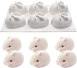 HomyPlaza 3D Easter Rabbit Bunny Silicone Mold DIY Baking Moulds Bakeware Trays Tool Cake Topper Decorative Cooking Supplies for Chocolate Fondant Candy Candies Ice, White (6 Cavity)