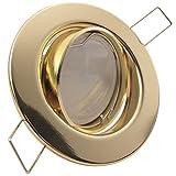 DECORA 1er Set 230V LED 5W dimmbar Decken Einbaustrahler ultra flach (rund) Gold/Messing Warmweiß (3000k) nur 35 mm Einbautiefe Einbauleuchte schwenkbar