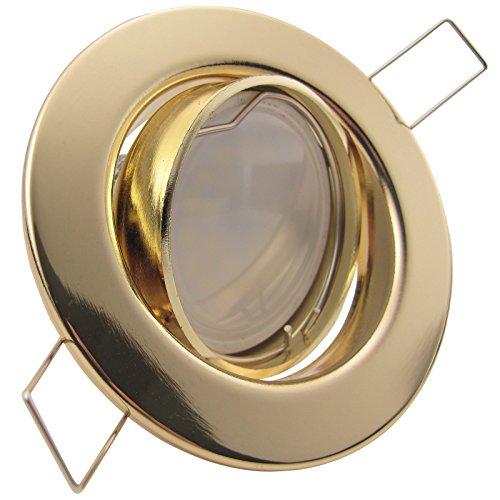 DECORA LED 10er Set 6W dimmbar 230V GU10 Decken Einbaustrahler Warm-Weiß GOLD MESSING schwenkbar, Leuchtmittel austauschbar Einbauleuchte Einbauspot Downlight