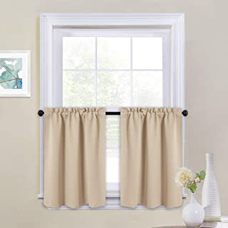 NICETOWN Short Room Darkening Drapes - Functional Thermal Insulated Window Treatment Valances & Tiers (2 Panels, 29W by 24L inches, Biscotti Beige)