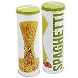 COM-FOUR® 2-teiliges Vorratsdosen-Set mit aus Metall, mit Deckel, für Nudeln wie Spaghetti, 27,2cm, Ø 8,5cm