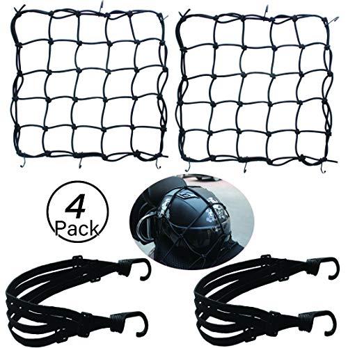 JiaHome 2 Stück Gepäcknetz(40 * 40cm)+ 2 Stück Gepäckband(60cm),Motorrad Gepäcknetz Fahrrad Netz Helmnetz mit Haken Spannnetz Sicherungsnetz elastisches Gepäckband für Motorrad Fahrrad
