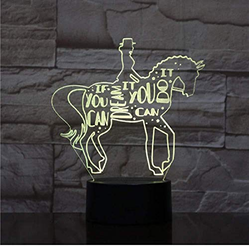Horse Riding Animal 3D Lamp Night USB LED Lighting Change Christmas Kids Toy Decorative Table Decor Lamp