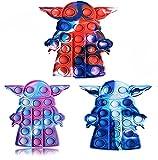 Tpcean 3 PCS Pop Bubble Fidget Tie Dye Push It Toy Yo-da Baby Bubble Popping Juego Tablero Mantener Bebé Niños Estallar