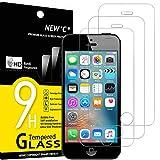 NEW'C 3 Unidades, Protector de Pantalla para iPhone 5, iPhone 5S, iPhone 5C, Antiarañazos, Antihuellas, Sin Burbujas, Dureza 9H, 0.33 mm Ultra Transparente, Vidrio Templado Ultra Resistente