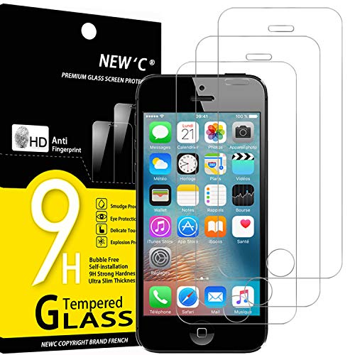 NEW'C Lot de 3, Verre Trempé Compatible avec iPhone 5,5S,5C, Film Protection écran sans Bulles d'air Ultra Résistant (0,33mm HD Ultra Transparent) Dureté 9H Glass