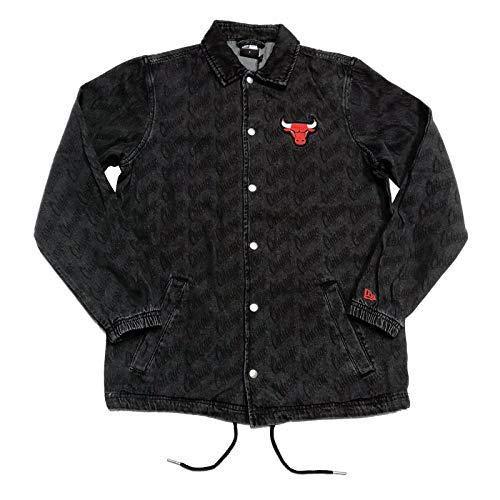 New Era NBA Denim Coaches Jacket Chibul Blk Chaqueta, Hombre, Black, 3XL