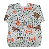 Sigzagor Baby Bib Sleeved Shirt With Pocket 1-3 years old Toddler Painting Watercolor Woodland 15.3inx12.6in